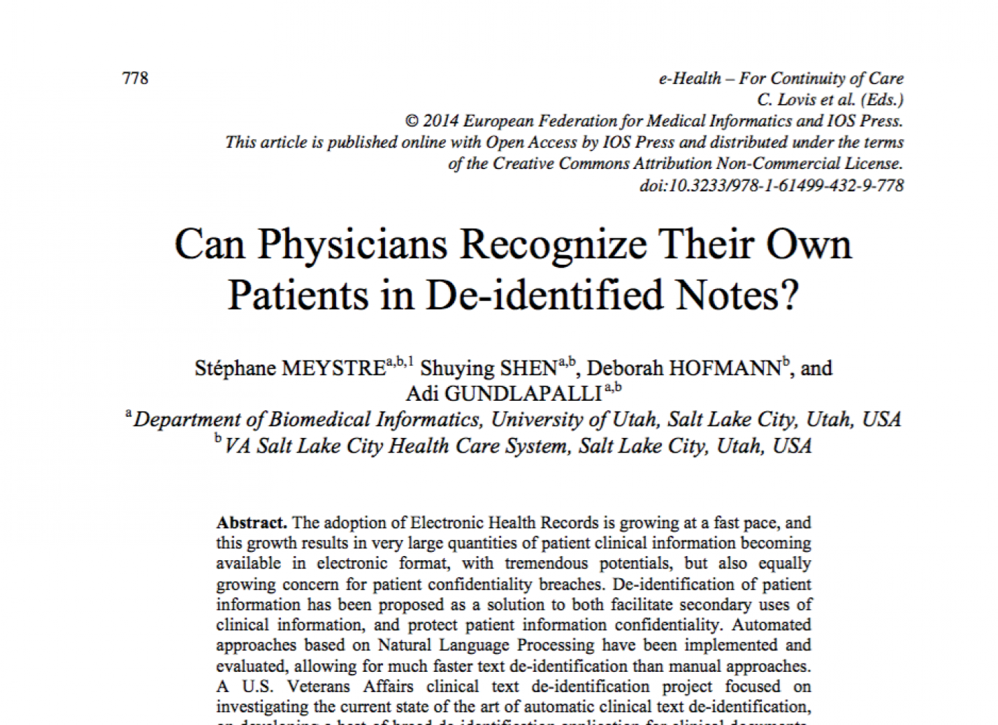 Can Physicians Recognize Their Own Patients in De-identified Notes?