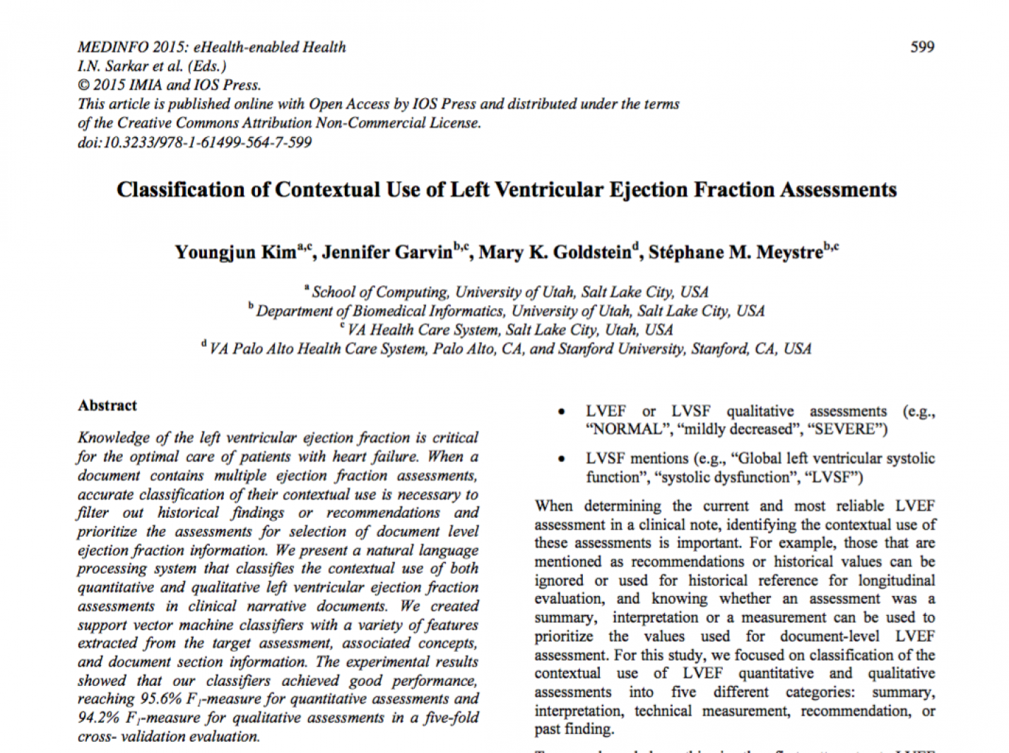 Classification of Contextual Use of Left Ventricular Ejection Fraction Assessments