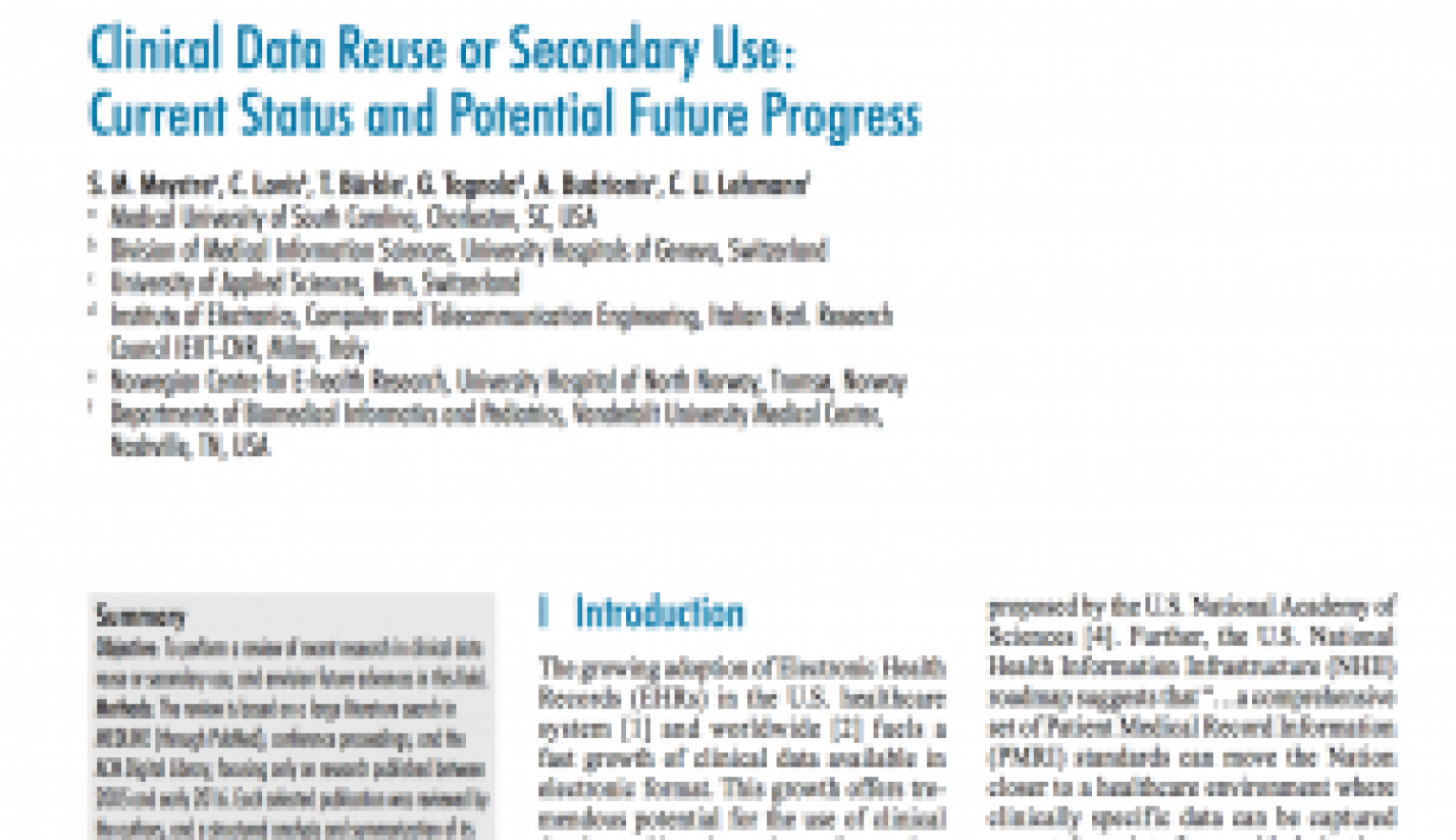 Clinical Data Reuse or Secondary Use: Current Status and Potential Future Progress