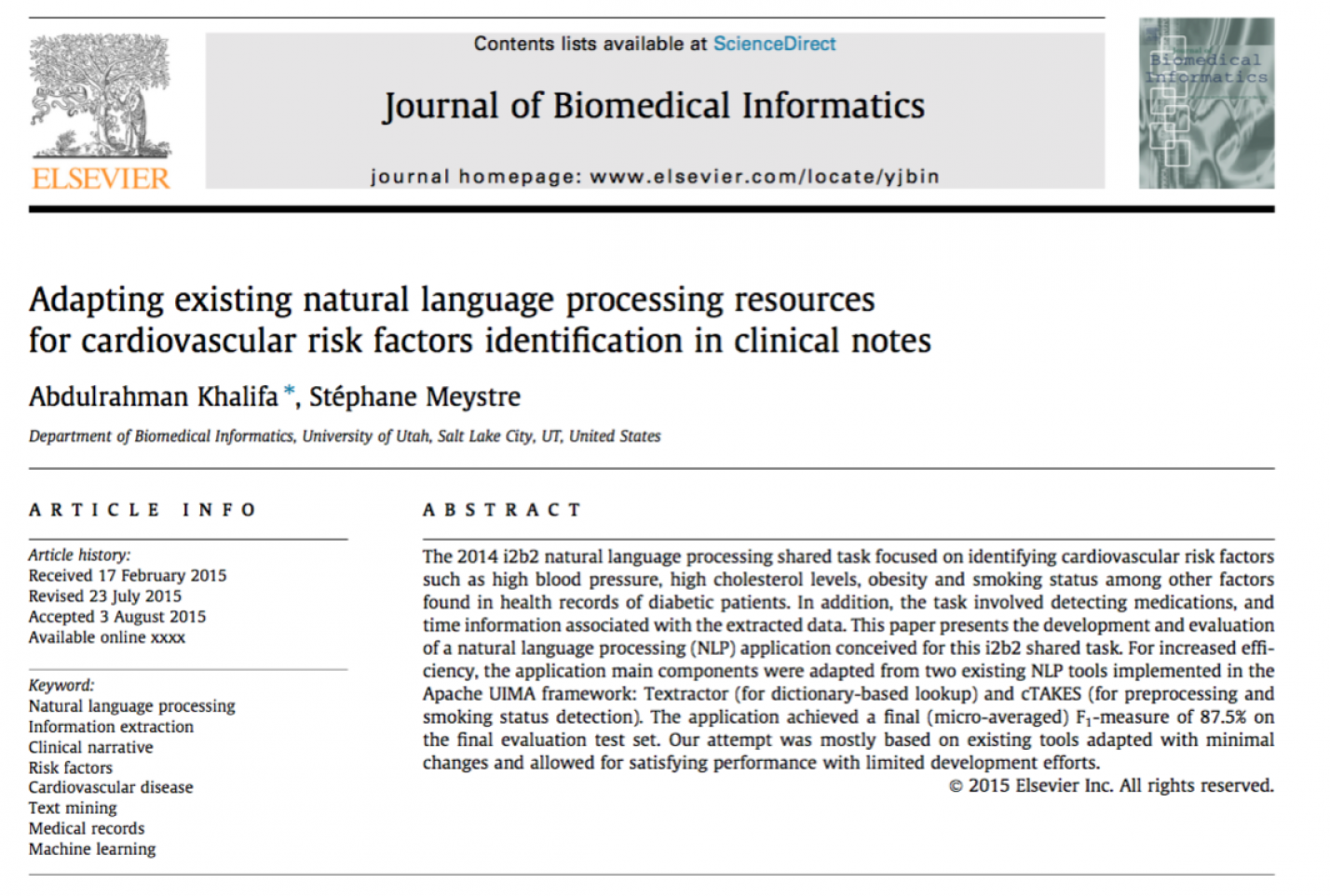Adapting Existing Natural Language Processing Resources for Cardiovascular Risk Factors Identification in Clinical Notes