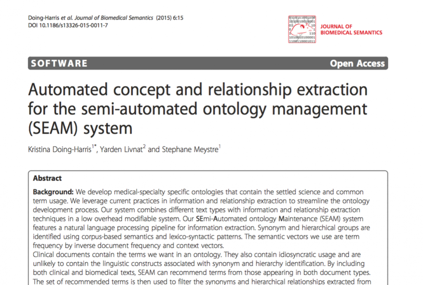 Automated concept and relationship extraction for the Semi-Automated Ontology Management (SEAM) System