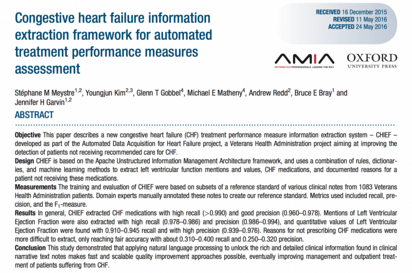 Congestive heart failure information extraction framework for automated treatment performance measures assessment
