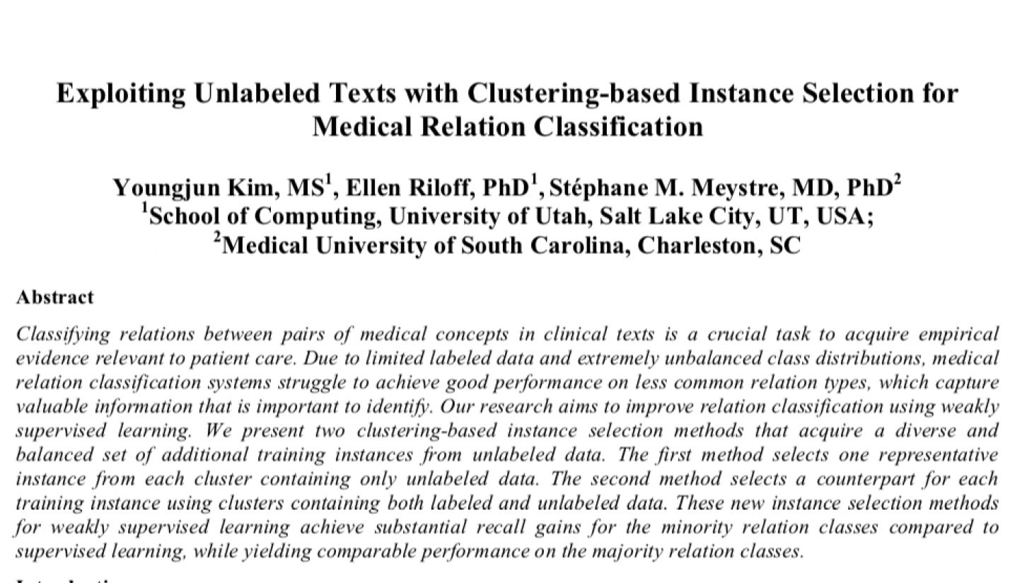 Exploiting Unlabeled Texts with Clustering-based Instance Selection for Medical Relation Classification