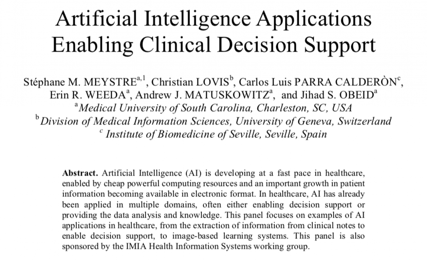 Artificial Intelligence Applications Enabling Clinical Decision Support