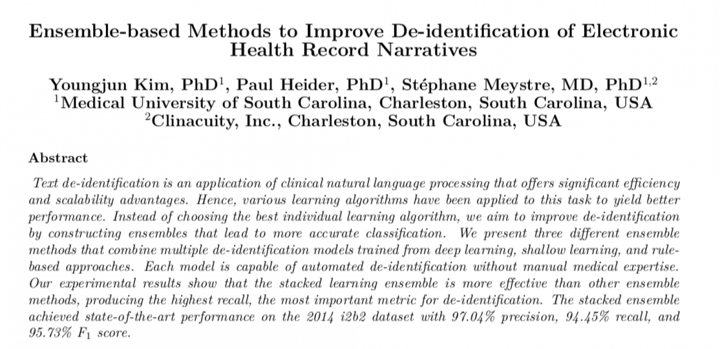 Ensemble-based Methods to Improve De-identification of Electronic Health Record Narratives